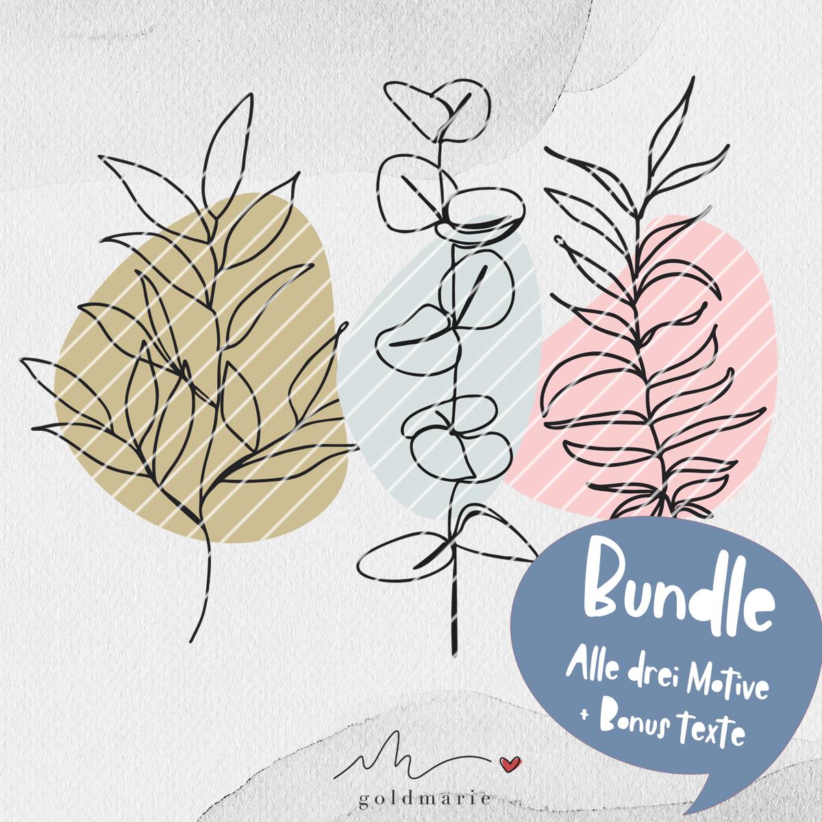GOLDMARIE Plotterdatei - One Line Florals 3er BUNDLE